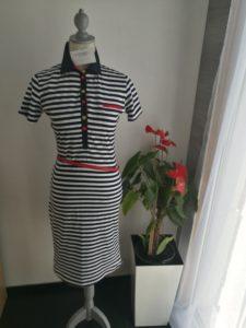 Šaty letní úpletové, modro bílý proužek